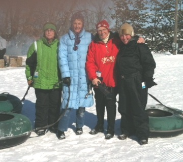 snow tubing super women